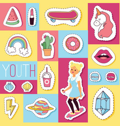 cartoon seamless pattern girlish vector image