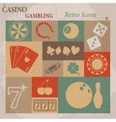 Casino and Gambling Flat Retro Icons vector image