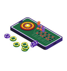 Casino club roulette wheel and gambling isolated vector
