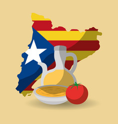Catalonia flag shape map nation independence and vector