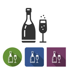 champagne icon in different variants vector image
