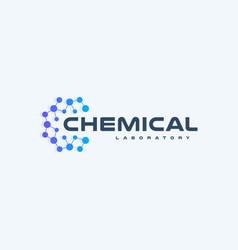Chemical innovation tech logo flat cartoon style vector