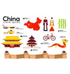 china travel guide template set chinese vector image