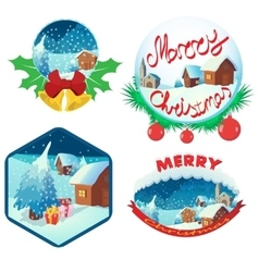 Christmas emblem set cartoon style vector