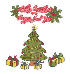 christmas tree with christmas balls and presents vector image