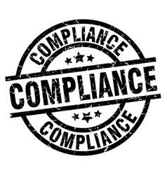 Compliance round grunge black stamp vector