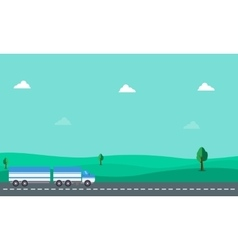 Container truck on hill vector