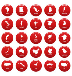 Country map icon set red vector