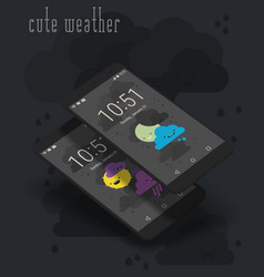 cute weather moile app screens on 3d smartphone vector image