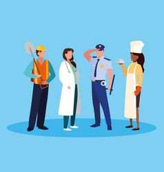 Doctor female with group professionals vector