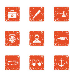 Doctor on ship icons set grunge style vector