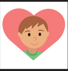drawing of icon young man in the heart vector image