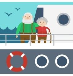 Elderly couple on a cruise ship cartoon vector image