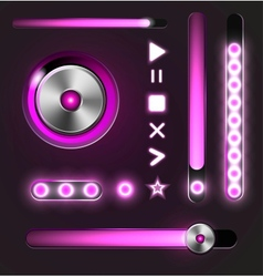 Equalizer and player metal buttons with track bar vector image