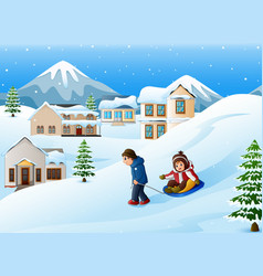 father pulling his son riding on a sled vector image