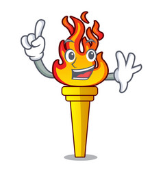 Finger torch mascot cartoon style vector