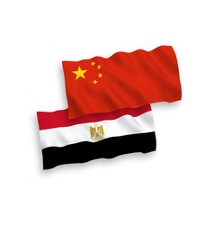 Flags egypt and china on a white background vector