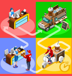 Food truck coffee cafe home delivery isometric vector
