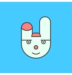 Funny white rabbit character icon on blue vector