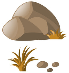 Grass and stones in gray vector