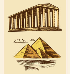 great pyramid giza and historical building with vector image