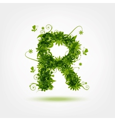 Green eco letter R for your design vector