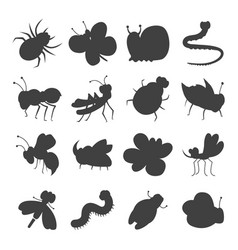 Grey insect silhouette icons vector