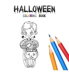 halloween coloring book cute bacartoon vector image