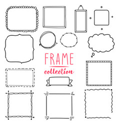 Hand drawn frame set wreath collection vector