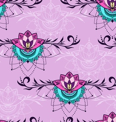 Hand-drawn seamless pattern with lotus in east vector image