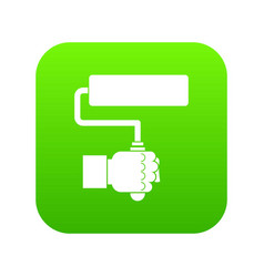 hand hoding paint roller icon digital green vector image