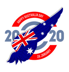 happy australia day poster with flag on wing vector image