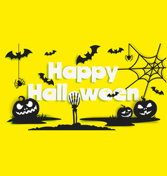 happy halloween poster banner template vector image