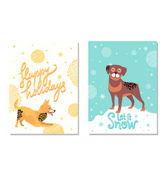 happy holidays let it snow postcards with dogs vector image