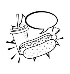 Hot dog with soda black and white vector