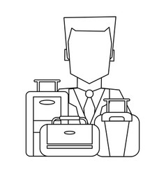 Hotel recepcionist with luggage black and white vector