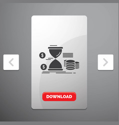 Hourglass management money time coins glyph icon vector