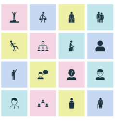 human icons set with employee pupil human and vector image