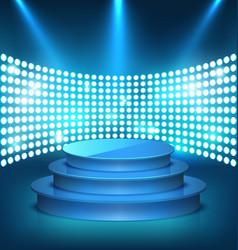 Illuminated festive shiny blue stage podium vector