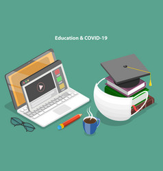 Impact covid-19 pandemic on education vector