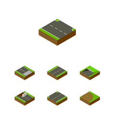 Isometric way set of rightward subway pedestrian vector
