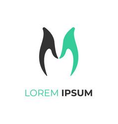 letter m logo hand symbol flat design vector image