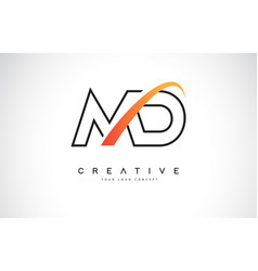 Md m d swoosh letter logo design with modern vector