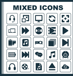 Music icons set collection of playlist vector