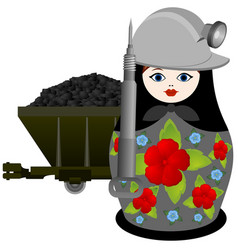 nesting doll miner with jackhammer vector image