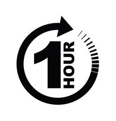 one hour arrow icon vector image
