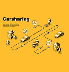 One-way carsharing service isometric poster vector