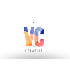 Orange blue alphabet letter vc v c logo icon vector