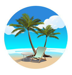 palms beach and chaise longue vector image