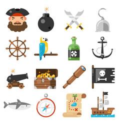 pirates icons set on white background vector image